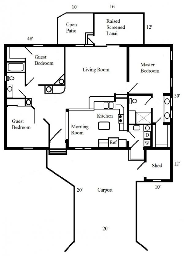 Floor plan of   Mobile / Manufactured Home via MHVillage.com