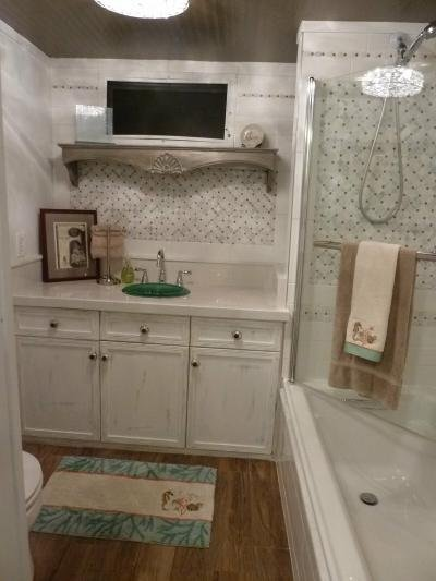 Large soaker tub with shower
