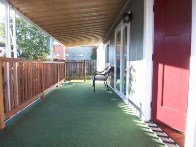 Redwood deck railing