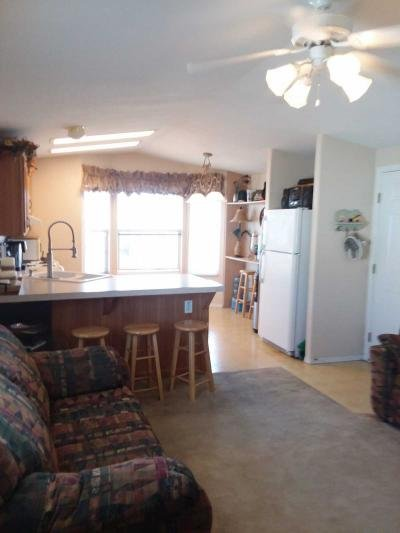 Living room view into kitchen