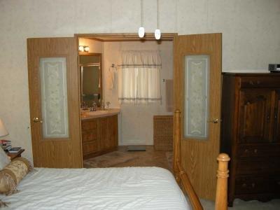 double doors into bathroom