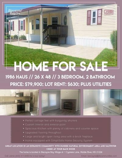 Mobile Home at 1 Cypress Lane Middle River, MD 21220