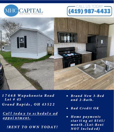 Mobile Home at 17468 Wapakoneta Road Lot 45 Grand Rapids, OH 43522