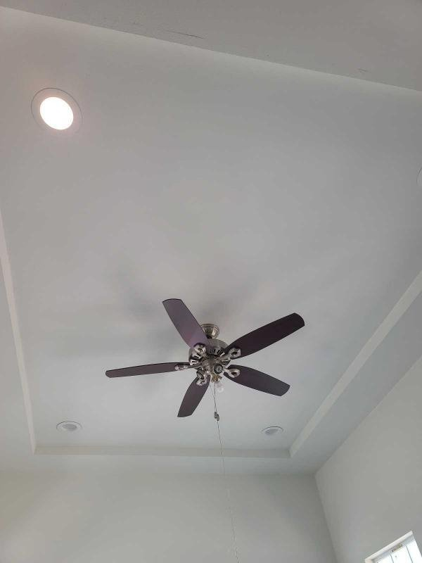 ceiling fan and can lights