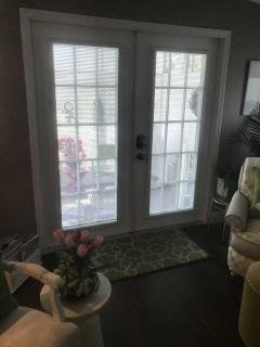 french door with blinds