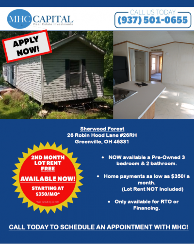 Mobile Home at 26 Robinhood Lane Greenville, OH 45331