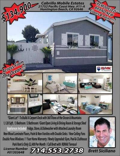 Mobile Home at 21752 Pacific Coast Highway, Space #11-A Huntington Beach, CA 92646