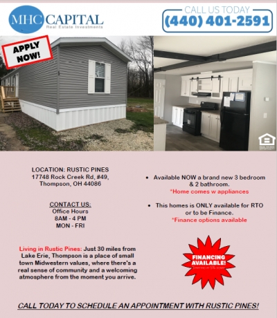 Mobile Home at 17748 Rock Creek Rd, #49, Thompson, Oh 44086 Thompson, OH 44086