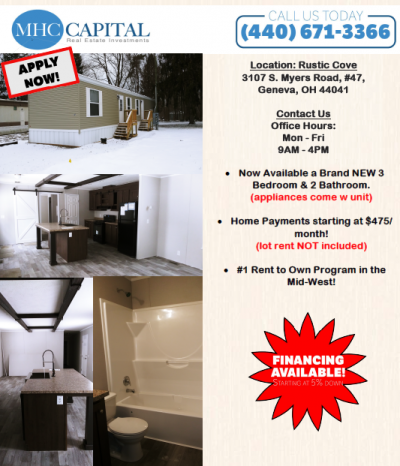 Mobile Home at 3107 S. Myers Road, #47 Geneva, OH 44041
