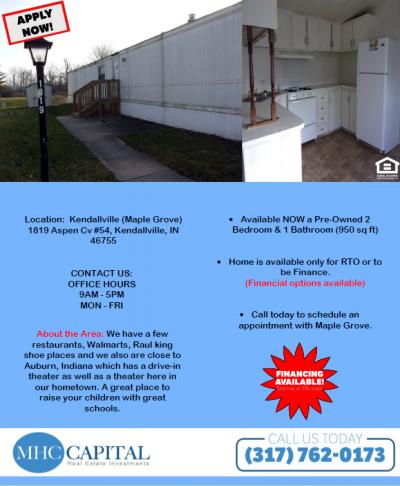 Mobile Home at 1819 Aspen Cv. Kendallville, IN 46755