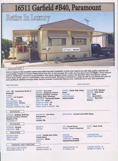 Mobile Home at 16511  Garfield Ave  40 B Paramount, CA 90723