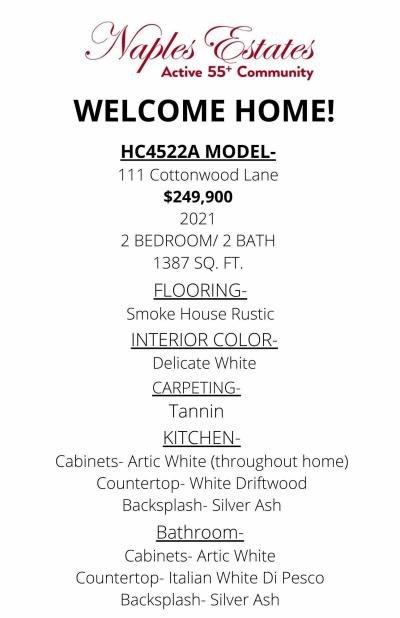 Mobile Home at 111 Cottonwood Lane Naples, FL 34112