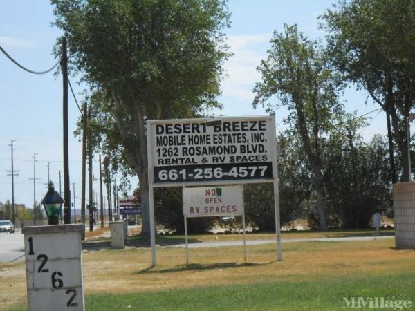 Photo of Desert Breeze Mobile Home Estates, Rosamond, CA