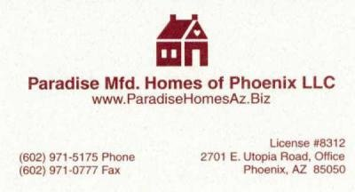Paradise Mfd Homes of Phoenix mobile home dealer with manufactured homes for sale in Phoenix, AZ. View homes, community listings, photos, and more on MHVillage.